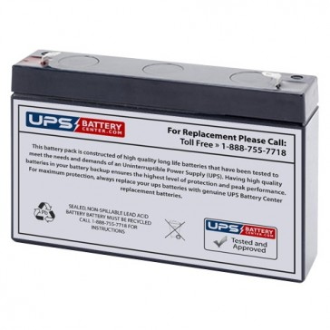 Leoch 6V 7Ah LP6-7.2 Battery with F1 Terminals