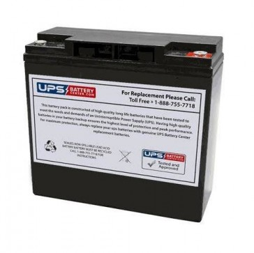 Power-Sonic 12V 21Ah PDC-12200 Battery with T12 Threaded Insert Terminals