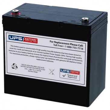 Gaston 12V 55Ah GT12-55 Battery with M5 Insert Terminals