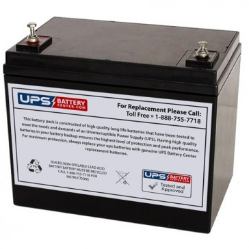 Power-Sonic 12V 75Ah PS-12750 Battery with M6 Threaded Insert Terminals
