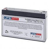 TLV672 - 6V 7.2Ah Sealed Lead Acid Battery with F1 Terminals