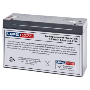 EMERGI-LITE 6V 12Ah 12LSM6 Battery with F1 Terminals
